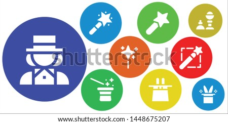 illusionist icon set. 9 filled illusionist icons.  Collection Of - Magician, Magic wand, Magic hat, Wand, Magic trick