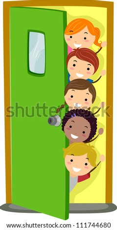 Illusstration of Kids Peeking from Behind a Door