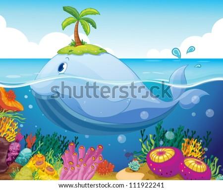 illustraion of a fish  island