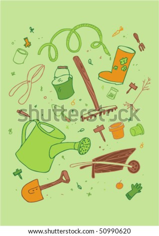 illustraition of cartoon garden tool, hand drawn design set. - stock vector