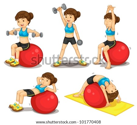 Illustraiton of girl doing exercises