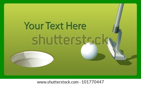 Illustraiton of golf putter and ball near hole