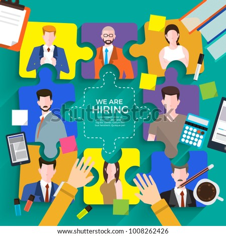 Illustrate design concept The finding employee. HR job seeking. Vector illustrate.