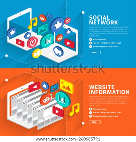 Illustrate style flat design about social network and website information style isometric 3d.Vector graphic.