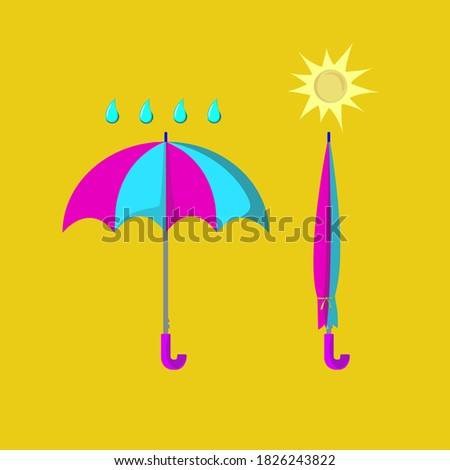 illustrate two umbrellas and