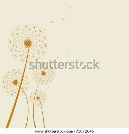 Illustrated abstract dandelion on a colored background. artwork