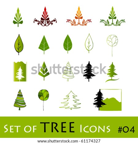 illustrated abstract tree icons| eps8