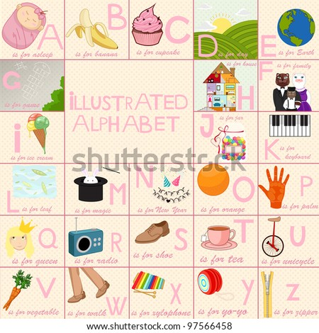 Illustrated alphabet for children with colorful, funny, cute illustrations.