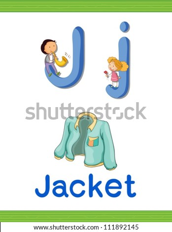 Illustrated alphabet letter and object - stock vector