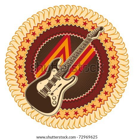 Illustrated badge with electric guitar. Vector illustration.