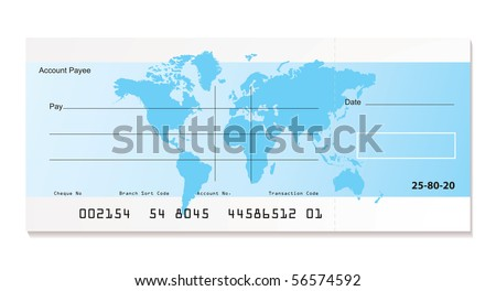 illustrated bank cheque with world map and sample template
