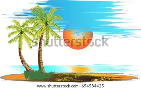illustrated beautiful beach in