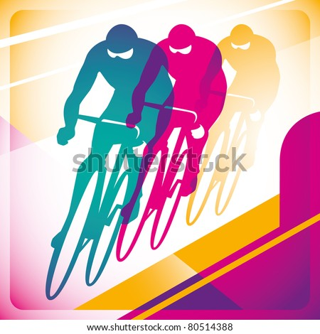 Illustrated bicycle driving background in color. Vector illustration.
