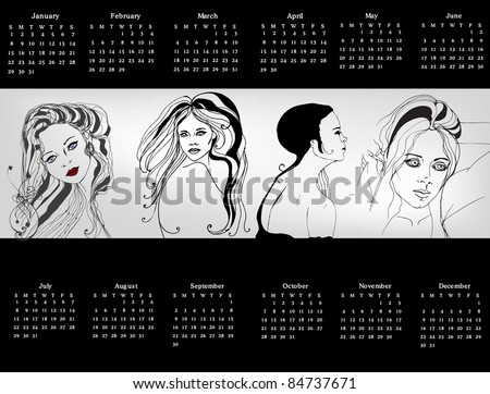 Illustrated 2011 calendar  with women
