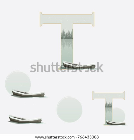 illustrated capital letter t in