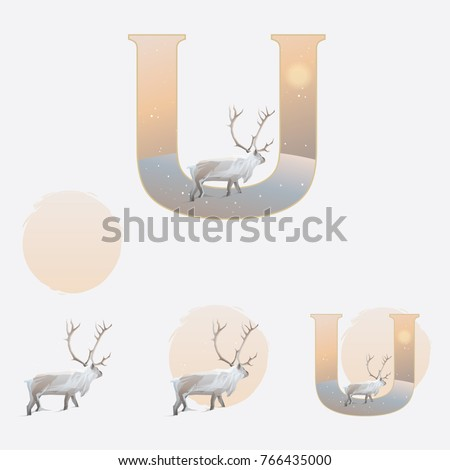 illustrated capital letter u in