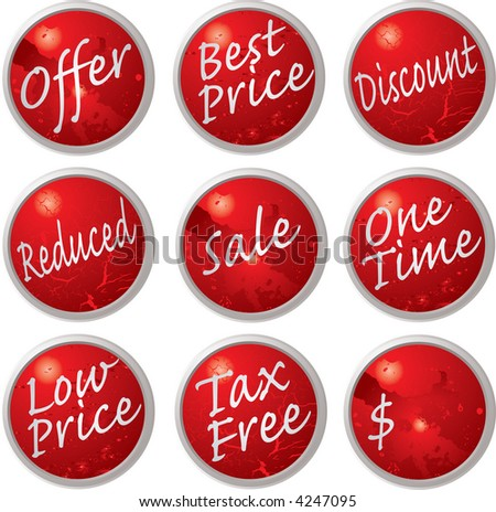 Illustrated collection of buttons or tags that could be used within a shop or internet environment - stock vector