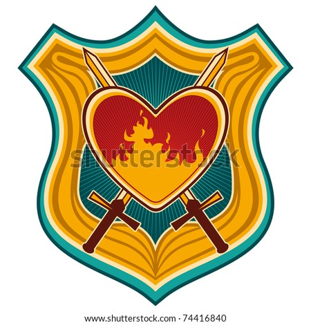 Illustrated colorful crest with heart. Vector illustration.