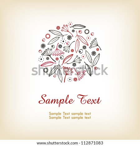 Illustrated decorative background with place for text. Pattern with berries and leaves