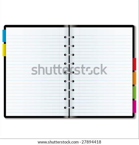 blank calendar pages. organiser with lank pages