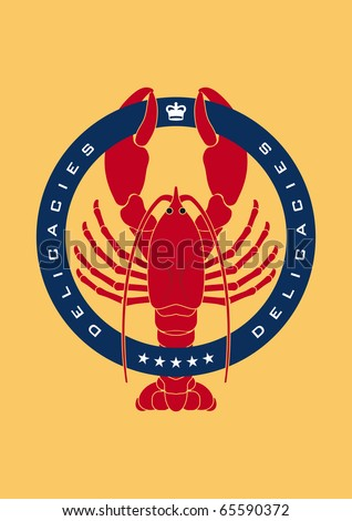 Illustrated emblem showing a lobster representing sea food an delicacies - stock vector