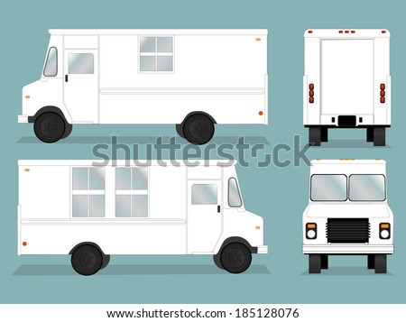 Illustrated food truck graphic with all views Food Truck Vector Template