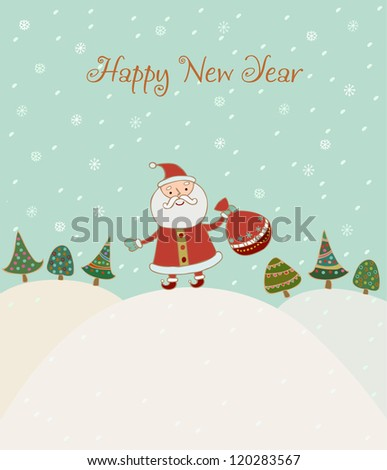 Illustrated hand drawn New Year greeting card with sample text. Template for design and decoration