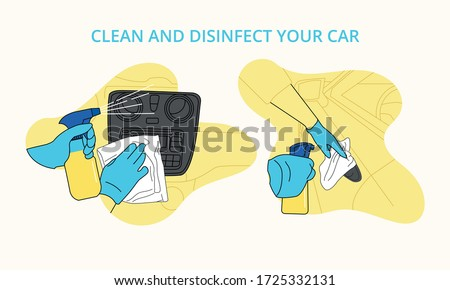 Illustrated icons to disinfect car with gloves and avoid contagion by Covid 19  dash and doors