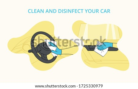 Illustrated icons to disinfect car with gloves and avoid contagion by Covid 19 disinfects the rudder and doors