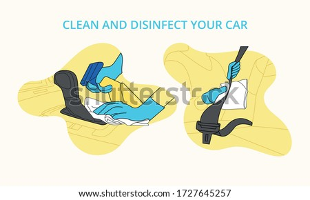 Illustrated icons to disinfect car with gloves and avoid contagion by Covid 19  lever and seat belt