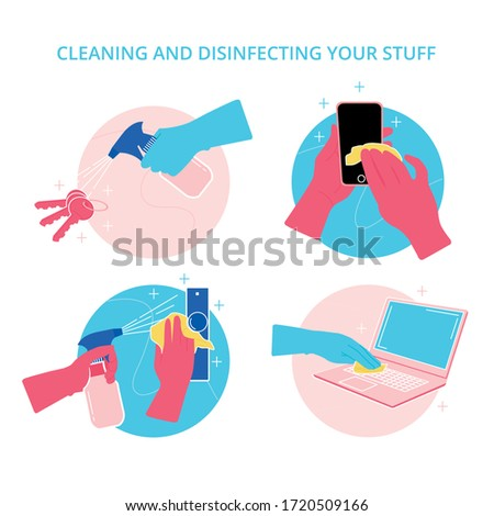 Illustrated icons to disinfect things at home with gloves and avoid contagion by the Covid 19 disinfects keys, doors, doors and cell phones