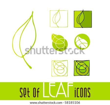 illustrated leaf icons| eps8