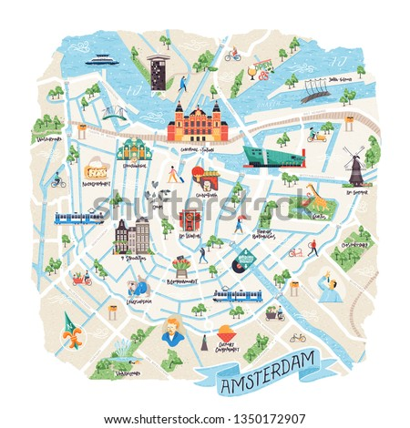 Illustrated map of Amsterdam, The Netherlands. Vector doodle illustration. Can be used as a poster, travel blog illustration, tourist leaflet, tour guide etc.