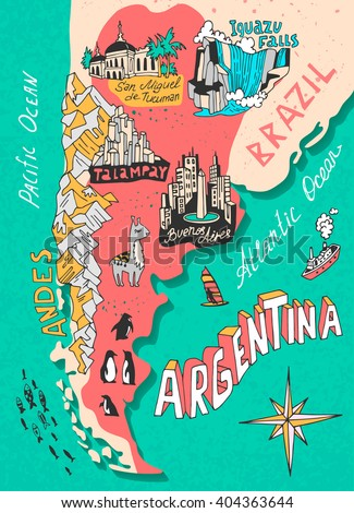 illustrated map of argentina