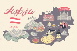Illustrated map of Austria. Attractions and national symbols of the country