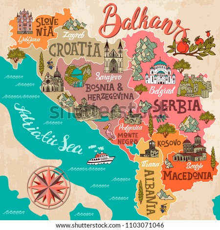 illustrated map of balkans