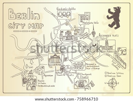 illustrated map of berlin ...