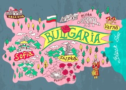 Illustrated map of Bulgaria. Travels