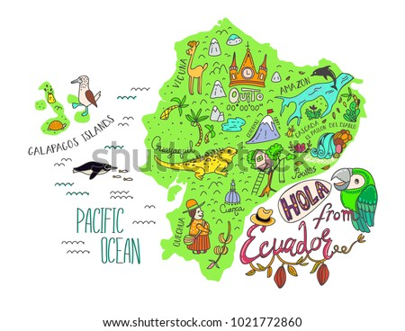 Illustrated map of Ecuador and Galapagos islands. Vector illustration with all main tourist attraction of the country. Hola from Ecuador - Hello from Ecuador.