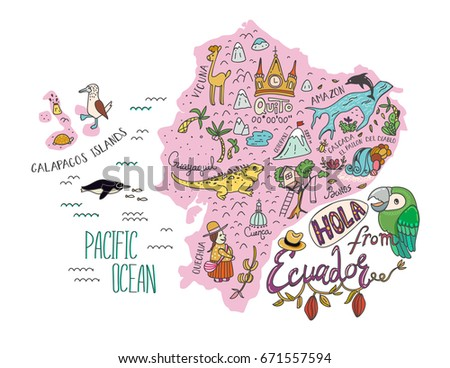 illustrated map of ecuador and