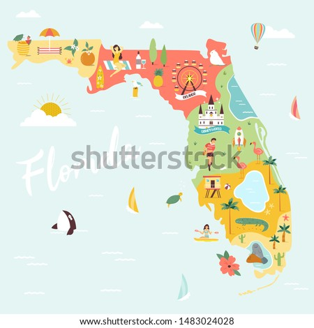 Illustrated map of Florida with monuments, fauna, flora. American state with symbols, cities and destinations. Bright design, banner, poster
