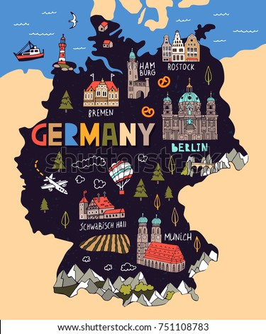 Cartoon Map Of Germany.Airstock Is Illustrated Map Of Germany Travel And Attractions
