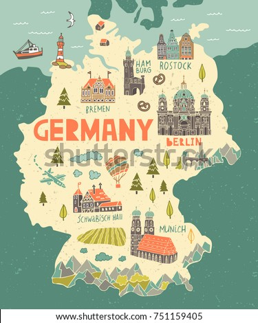 Illustrated map of Germany. Travel and attractions