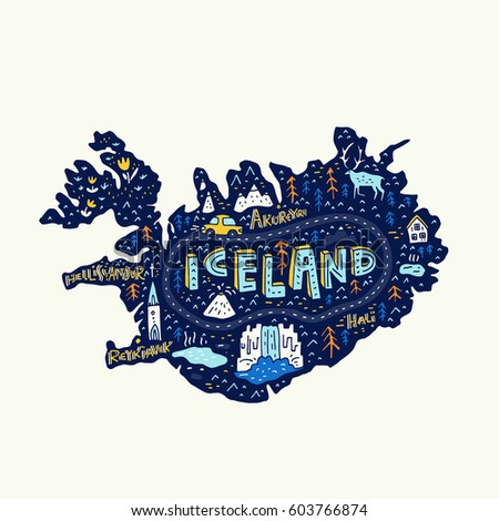 illustrated map of iceland
