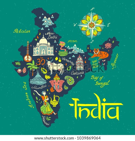 illustrated  Map of India. Travel and attractions. Сток-фото ©