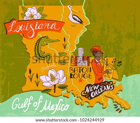 Illustrated map of Louisiana, USA. Travel and attractions Сток-фото ©