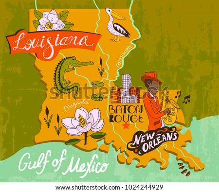 illustrated map of louisiana ...