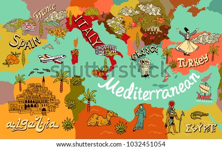 Illustrated map of Mediterranean. Travel and attractions