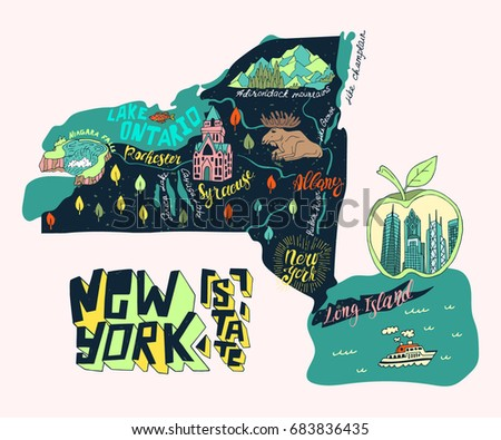 Illustrated map of New York state, USA. Travel and attractions