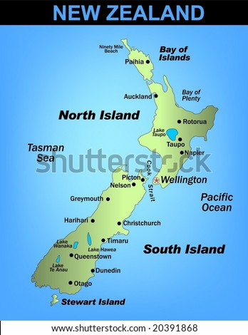 Illustrated map of New Zealand